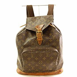 Louis Vuitton Montsouris Gm 866462 Brown Monogram Canvas and Calf Leather Backpack