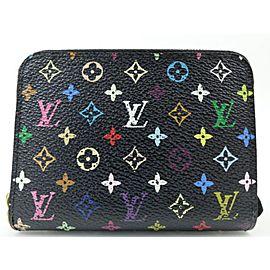 Louis Vuitton Black Monogram Multicolor Compact Zippy Wallet Coin Purse 240253