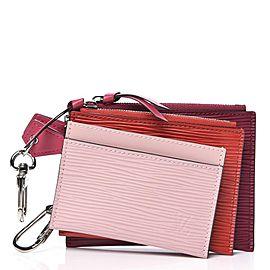 Louis Vuitton Multicolor Pink Epi Leather Trio Card Case Wallet Keychain 863137