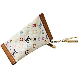 Louis Vuitton White Multicolor Monogram Blanc Berlingo Coin Case Key Case 862134