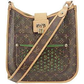 Louis Vuitton Musette Green Perforated Monogram 2lk1206 Brown Coated Canvas Cross Body Bag