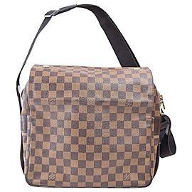 Louis Vuitton Naviglio Damier Ebene 870545 Brown Coated Canvas Shoulder Bag