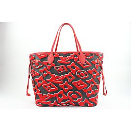 Louis Vuitton Rare LVxUF Red Black Monogram Leather Neverfull MM with Pouch 6lvs16