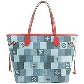 Louis Vuitton Neverfull 850000 Blue X Red Monogram Denim Patchwork Tote