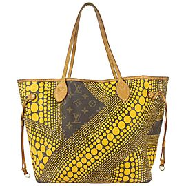 Louis Vuitton Yellow Kusama Monogram Infinity Dots Neverfull MM Tote bag 156lvs79