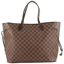 Louis Vuitton Large Damier Ebene Neverfull GM Tote Bag 557lvs614