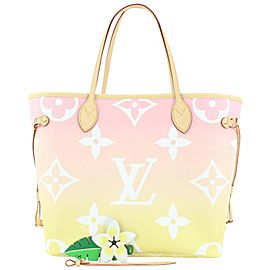 Louis Vuitton Pink Yellow Monogram By the Pool Neverfull MM Tote bag with Pouch 939L