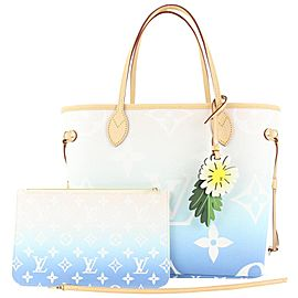 Louis Vuitton Blue Monogram By the Pool Neverfull MM Tote Bag with Pouch 36lvs422