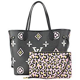 Louis Vuitton Black Monogram Wild at Heart Neverfull MM Tote bag 818lv52