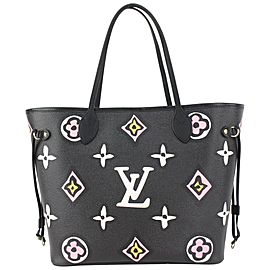 Louis Vuitton Black Monogram Wild at Heart Neverfull MM Tote Bag 818lv53