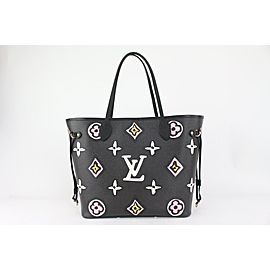 Louis Vuitton Black Monogram Wild at Heart Neverfull MM Tote with Pouch 818lv49