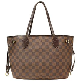 Louis Vuitton Neverfull Damier Ebene Pm 870374 Brown Coated Canvas Tote