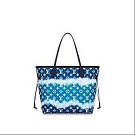 Louis Vuitton Neverfull Escale Mm Tye Dye Limited 11lv617 Blue Coated Canvas Tote