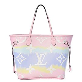 Louis Vuitton Neverfull Escale Mm Tye Dye Pastel 18lv617 Pink Coated Canvas Tote