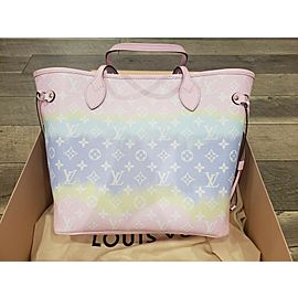 Louis Vuitton Neverfull Escale Mm with Pouch Pastel Tye Dye Limited 872867 Pink Coated Canvas Tote