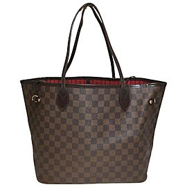 Louis Vuitton Neverfull Damier Ebene Mm 871539 Brown Coated Canvas Tote