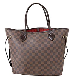 Louis Vuitton Neverfull Mm 871041 Brown Damier Ebene Canvas Tote