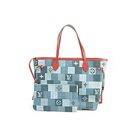 Louis Vuitton Neverfull Mm with Pouch 850999 Blue X Red Monogram Denim Patchwork Tote