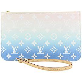 Louis Vuitton Blue Monogram By the Pool Neverfull Pochette Wristlet Pouch 47lvs423
