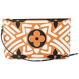 Louis Vuitton Orange-Brown Monogram Crafty Neverfull Pochette MM GM Wristlet 827L3