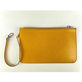 Louis Vuitton Yellow Epi Leather Neverfull Pochette Wristlet Pouch Bag 39LVL1125