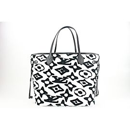 Louis Vuitton Rare LVxUF Urs Fischer White Black Monogram Neverfull with Pouch 8lv16
