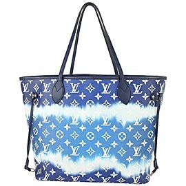 Louis Vuitton Blue Tie Dye Giant Monogram Escale Neverfull MM Tote 825lv58
