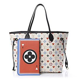 Louis Vuitton White Multicolor Game On Neverfull MM with Pouch Hearts 861859