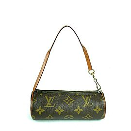 Louis Vuitton Papillon Nano Monogram Mini 4lva724 Brown Coated Canvas Wristlet