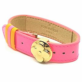 Louis Vuitton Pink Vernis Monogram Good Luck Flower Bracelet Bangle Cuff 860503