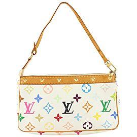 Louis Vuitton Rare White Monogram Multicolor Pochette Accessoires Wristlet 597lvs615