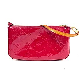 Louis Vuitton Pochette Indian Rose Monogram Vernis Accessories Nm 4lva627 Dark Pink Patent Leather Wristlet