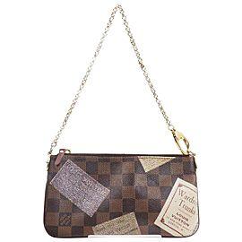 Louis Vuitton Damier Ebene Trunks Pochette Milla Wristlet Bag 862895
