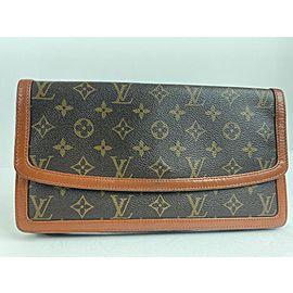 Louis Vuitton Pochette Monogram Dame Gm Envelope 5lv63 Brown Coated Canvas Clutch