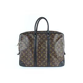 Louis Vuitton Porte-Documents Voyage Porte Macassar Monogram 17lz1217 Brown Coated Canvas Satchel
