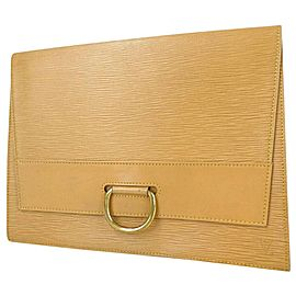 Louis Vuitton Porte Lena Fold Over Beige Epi 872662 Light Brown Leather Clutch