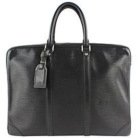 Louis Vuitton Porte-Documents Voyage Porte Noir 15lz0914 Black Leather Laptop Bag