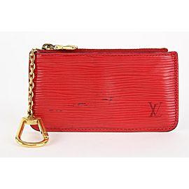 Louis Vuitton Red Epi Pochette Cles Key Pouch Coin Purse Keychain 18lvs1231