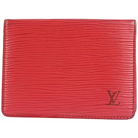 Louis Vuitton Red Epi Leather Card Case Wallet 829lvs47