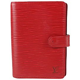 Louis Vuitton Red Epi Leather Small Ring Agenda PM Diary Notebook Cover 488lvs67