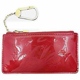 Louis Vuitton Red Monogram Vernis Key Pouch Pochette Cles 861582