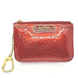 Louis Vuitton Red Monogram Vernis Pochette Cles Key Pouch Keychain Case 861605