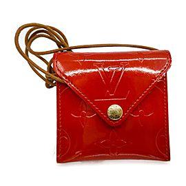 Louis Vuitton Red Monogram Vernis Collier Cube Pochette Necklace Bag 863354