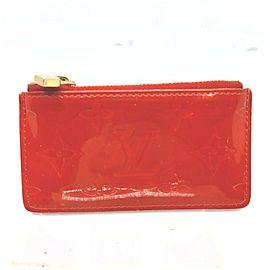 Louis Vuitton Red Monogram Vernis Key Pochette Cles Keychain 862080