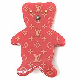 Louis Vuitton Rare Monogram Red Teddy Bear Brooch Pin 860819