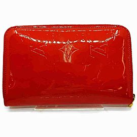 Louis Vuitton Monogram Vernis Red Zippy Organizer Wallet Zip Around GM