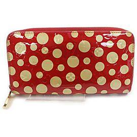 Louis Vuitton Red Kusama Infinity Dots Zippy Wallet Zip Around 862107