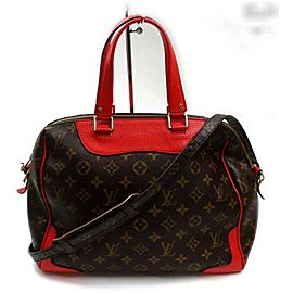 Louis Vuitton Retiro NM 872268 Red Monogram Coquelicot 2way Brown Coated Canvas Shoulder Bag