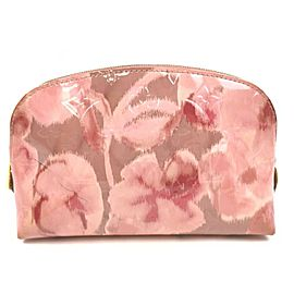 Louis Vuitton Pink Vernis Monogram Ikat Roses Cosmetic Pouch 862978