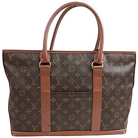Louis Vuitton Sac Weekend Pm Monogram Large Zip 872382 Brown Coated Canvas Tote